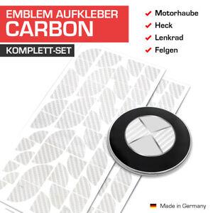 Carbon Silber Emblem Aufkleber Ecken für alle BMW Autos 45 Ecken