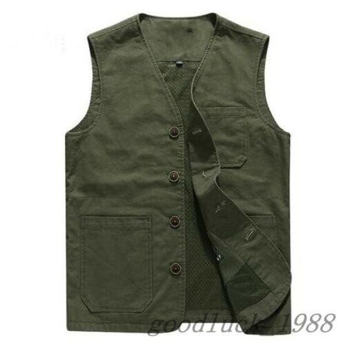 Homme Coton Poches Sans Manches Grande Taille Court gilet Casual veste US XS-6XL