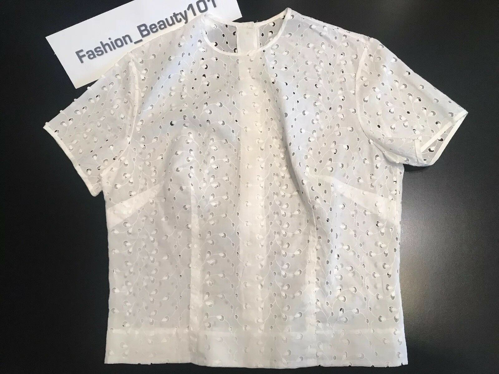 VTG Gorgeous High waist Lace Blouse In White Cotton Size 4 Perfect For Petite