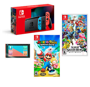 NEW Nintendo Switch SUPER Bundle + 2 HOT GAMES + Screen Protector + MORE