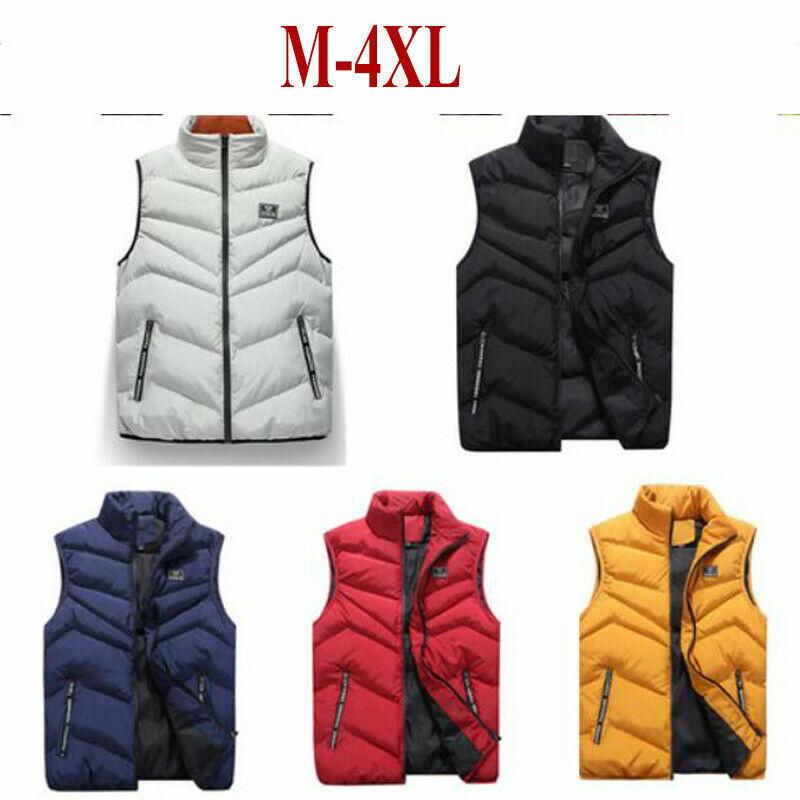 Winter Warm Mens Down Cotton Padded Sleeveless Jacket Vest Coats Waistcoat Parka