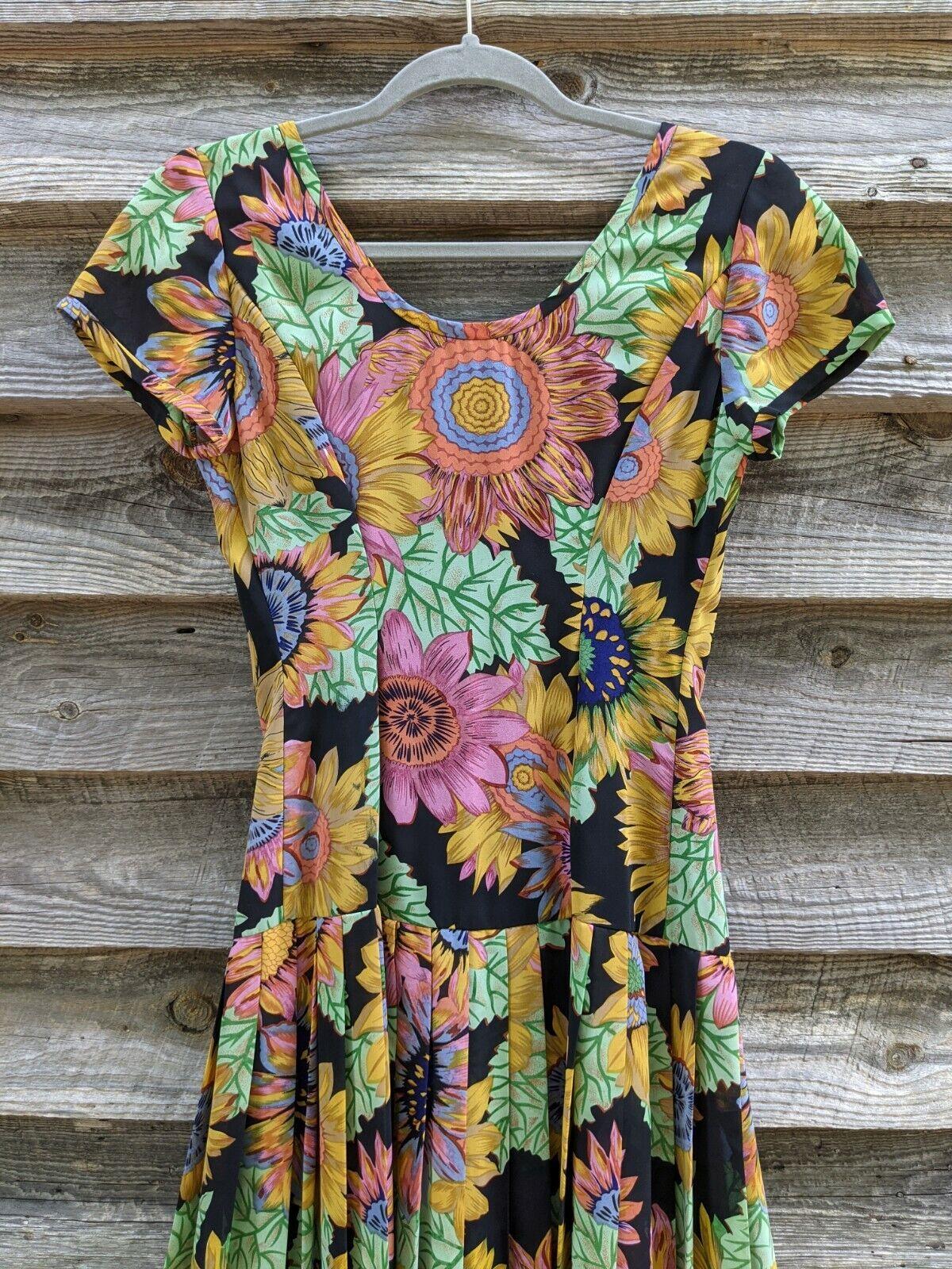 Vtg 90's Midi Dress Sunflowers RARE! Sundress Flo… - image 11