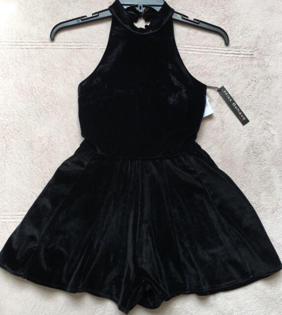 26761f99a87c Miss Behave Girls  Velvet Romper Black 16 for sale online