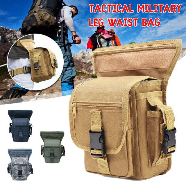Men Waterproof Tactical Military Leg Waist Nylon Bag Hip Drop Hiking Pack Pouch