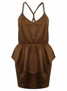 Ladies-Top-Strappy-Brown-Faux-Suede-Blouse-Leather-Look-New-Womens-8-14-Fashion