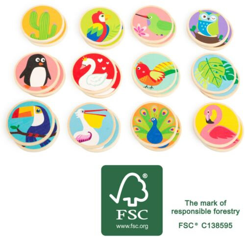 Memo Vögel der Welt FSC Holz Memospiel für Kinder Denkspiel Legespiel Kindermemo