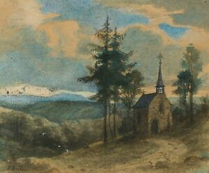 Peter-Becker-1828-1904-the-small-chapel-at-the-edge-of-the-forest-Aquar-Spring-Drawing