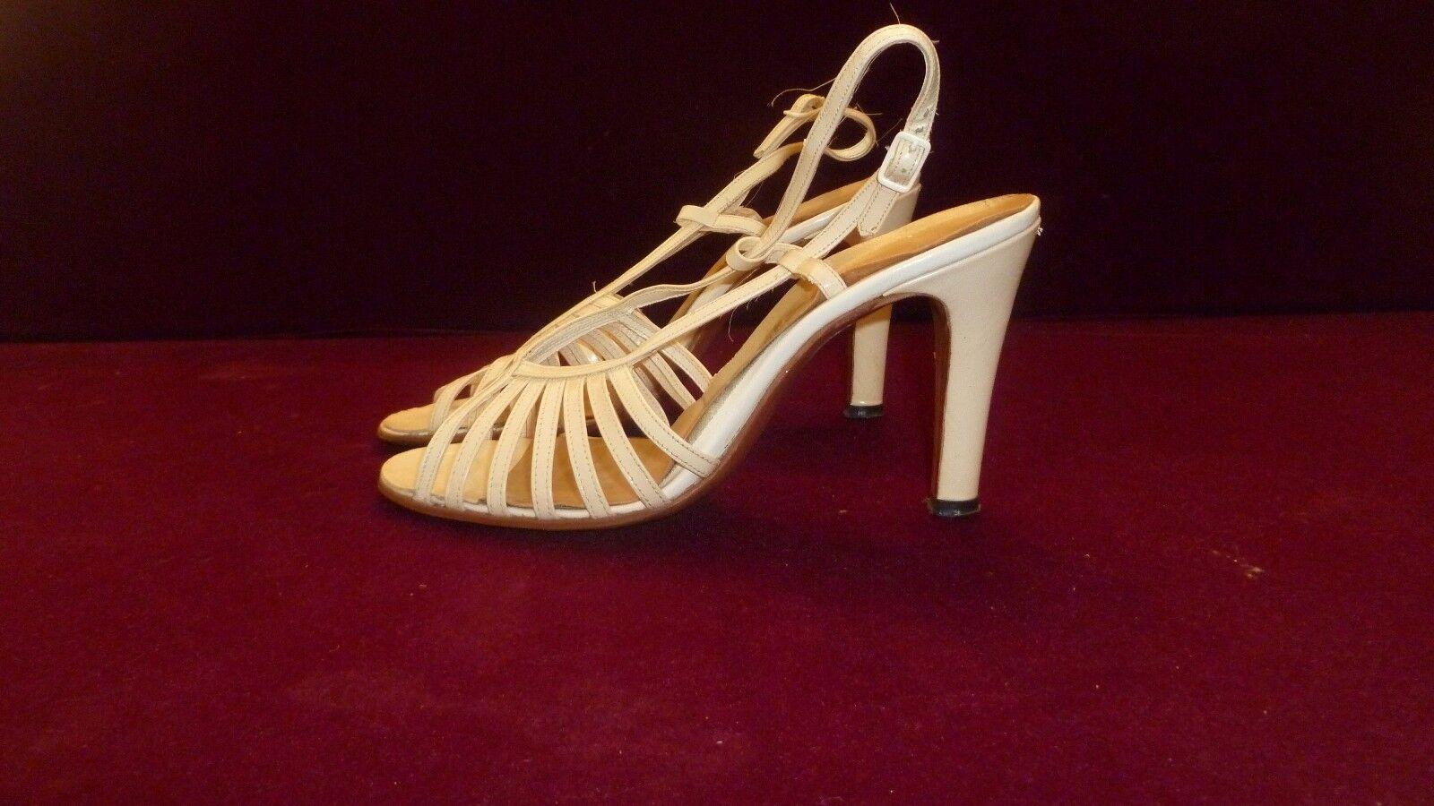 Véritable Vintage Fashion chaussures blanc Crème Sangle Talons Hauts années 1970