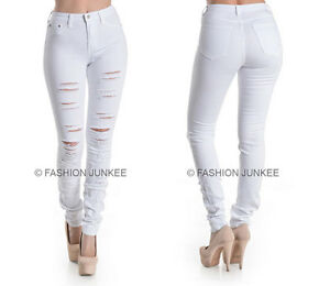 094d50a84401a2 Image is loading WHITE-45-RIPPED-JEANS-Skinny-Denim-Stretch-Destroyed-
