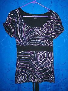Womens-STYLE-CO-Black-Purples-Cream-Mesh-Knit-Top-w-Tie-Size-PM