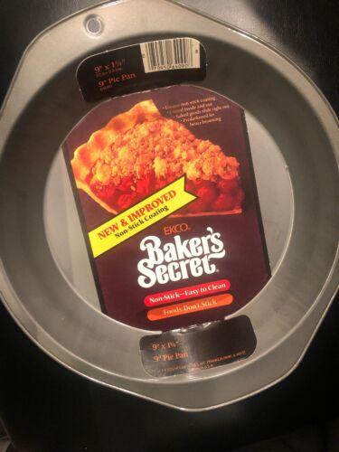 Bakers Secret Pie Pan Baking Dish 9 Inch Metallic Non Stick Coating Round New