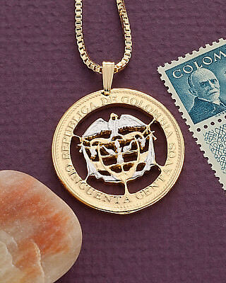 "Pig /& Piglets Pendant /& Necklace Ireland Coin Hand cut 1/"" diameter # 170"