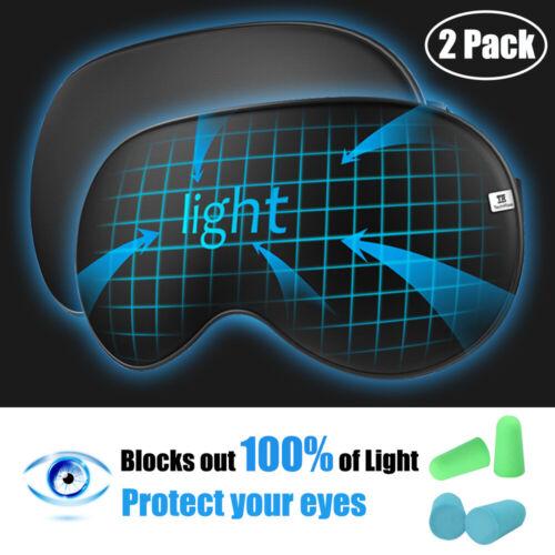 2 Silk Blindfold Blackout Sleep Eye Mask Soft Padded Travel Rest Aid Shade Cover