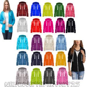 Ladies-Womens-Plain-Hoodie-Fleece-Sweatshirt-Hooded-Coat-Jumper-Zip-Jacket-8-30