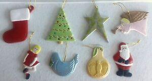 LOT of 8 Vintage Handmade Ceramic Christmas Ornaments