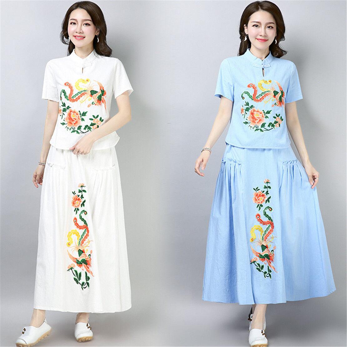 Phoenix Embroidery Linen Women's Loose Slim T-Shirt & Skirt Set Cheongsam M-XL
