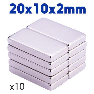 Lot 10pcs Aimant Neodyme Rectangulaire Plat Puissant Neodymium Magnet 20x10x2mm