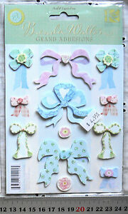3-D-Stickers-Baby-Bows-amp-Flowers-x-12-Items-MultiList-L6