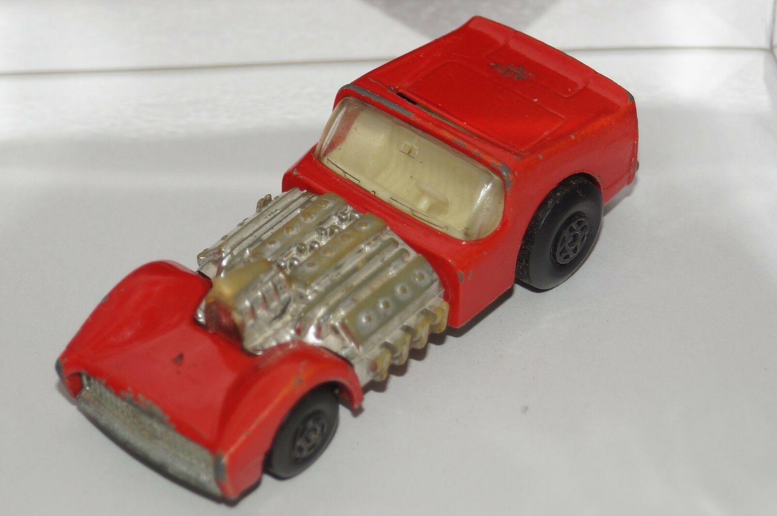 Original Matchbox Superfast Road Dragster-no 19-Coloree rosso-Motor de cromo