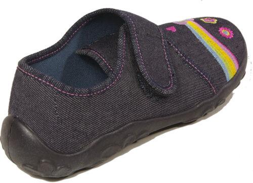 Superfit Chaussures pantoufles jeans bleu papillon textile fermeture velcro neuf