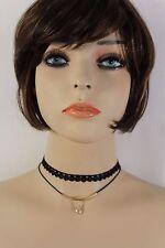 Hot Women Black Narrow Skinny Choker Fashion Necklace Silver Charm Bead 2 Straps