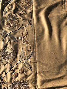 Pottery-Barn-Silk-Multi-Embroidered-Drape-Curtain-Panel-50-034-x96-034-Wheat-New