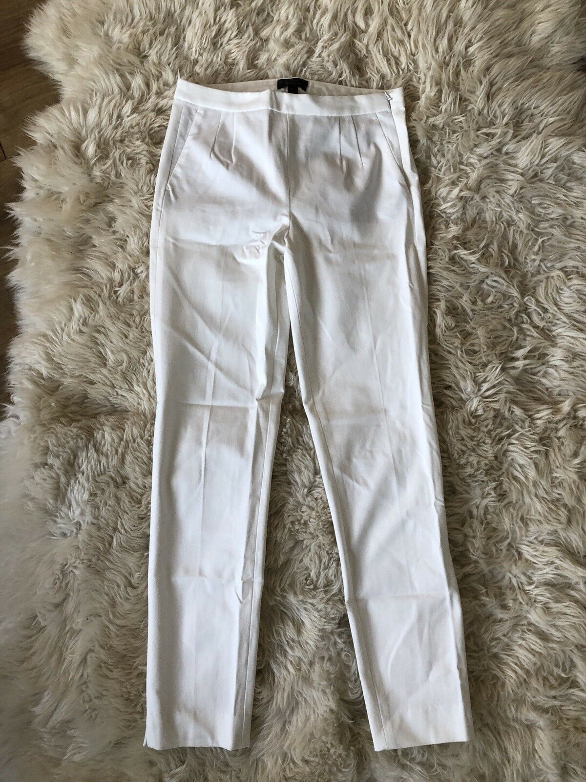 New J Crew Tall Martie Pant in Two-way Stretch Cotton Ivory White Sz 4T C2768