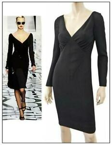 VALENTINO-Long-Sleeve-Black-Wool-Crepe-Dress-US-2-4-NEW-WITH-TAGS