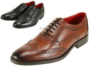 Base-London-Para-Hombre-Mas-Fino-Cuero-Brogue-Zapatos-Con-Cordones-Estilo-Con-Agarre-Suela-De-Goma