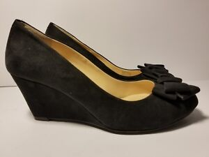 Jessica-Simpson-Womens-Black-Suede-Bow-Wedge-Pumps-Heels-Size-7-5-Shoes
