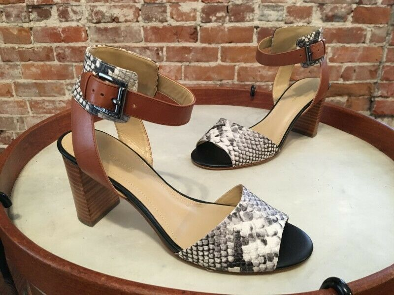 Marc Fisher Genette 2 Multi Snake Brown Leather Ankle Strap Sandals 8.5 NEW