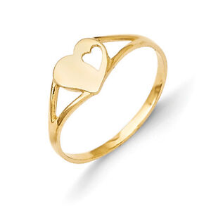14K-Yellow-Gold-Double-Heart-Baby-Ring-Size-2-Madi-K-Children-039-s-Jewelry