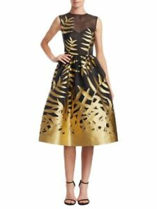 Details About 4 5k Cur Iconic Magnificent Oscar De La A Black Gold Leaves Dress
