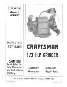 Fantastic Details About 1975 Craftsman 397 19390 1 3Hp Bench Grinder Instructions Ocoug Best Dining Table And Chair Ideas Images Ocougorg
