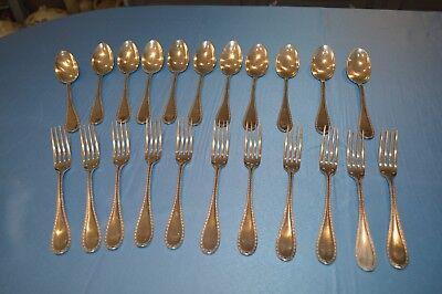 11 Couverts De Table Metal Argente Orfevrerie Argental / 22 Pieces