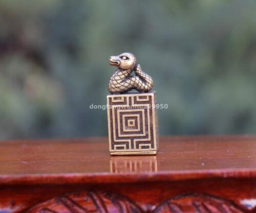 4 cm Pure Copper Bronze Zodiac Animals Snake Seal Stamp Signet Lucky Statue