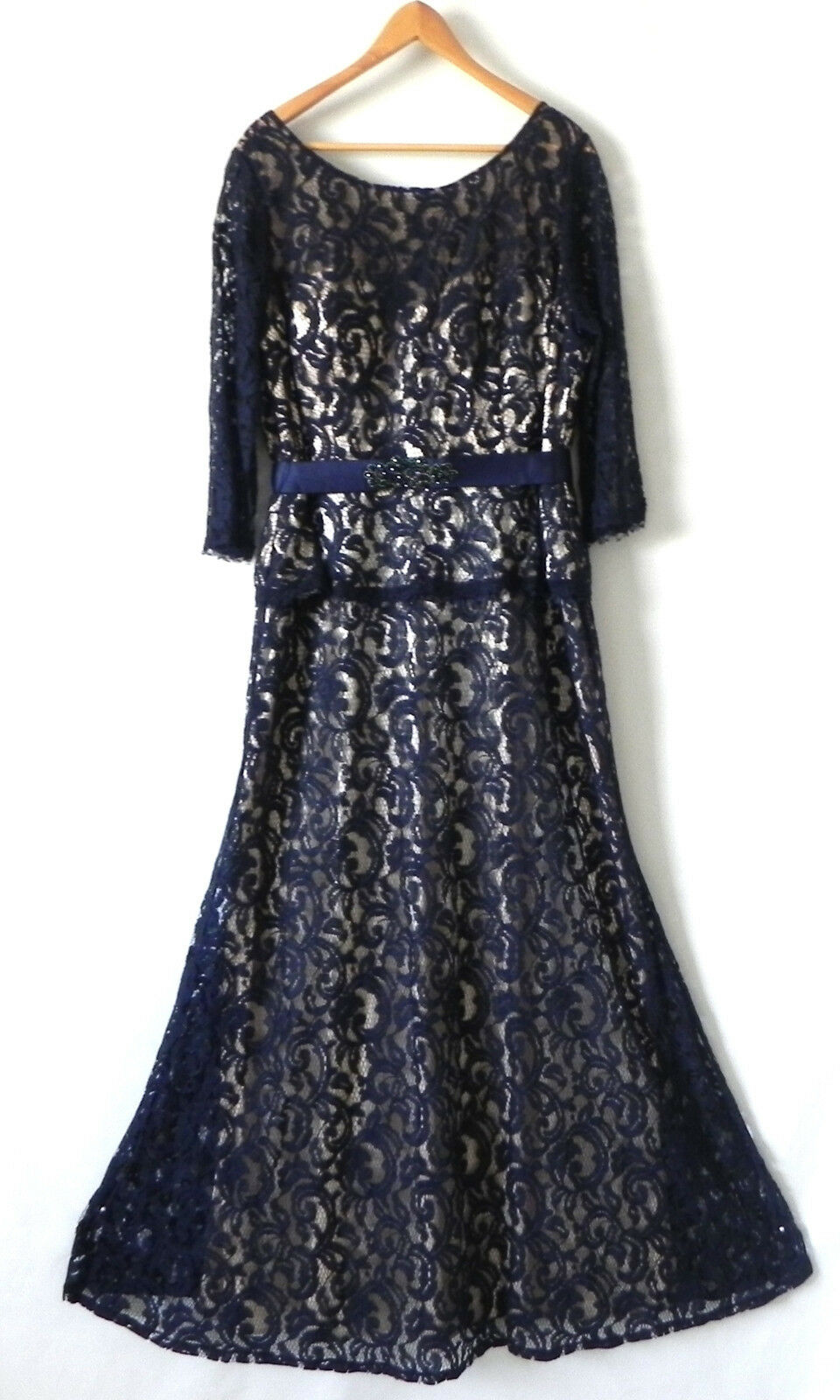 EVA USA Evening Dress Maxi Navy bluee Lace Belted 3 4 Sleeve Size 3XL
