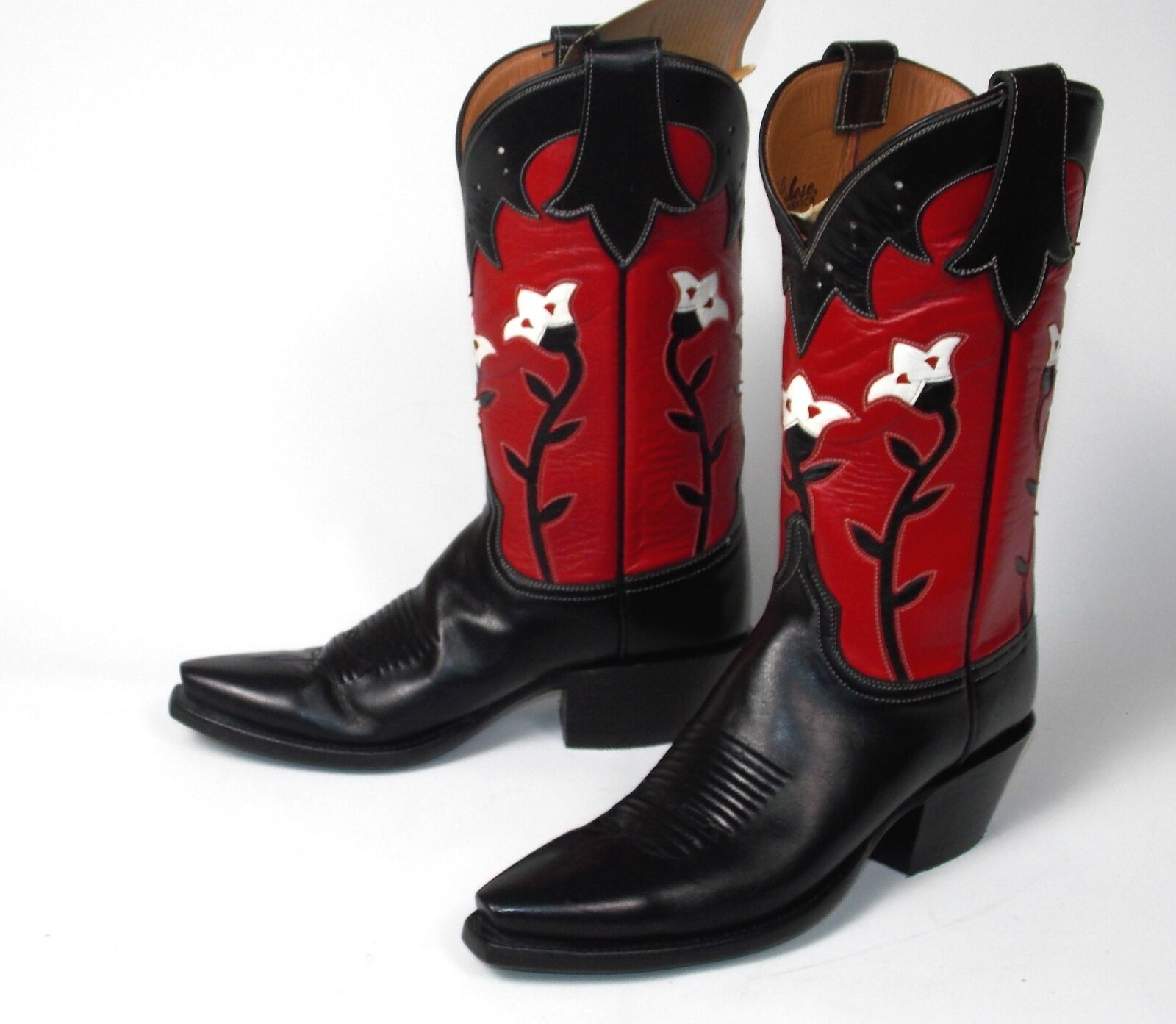 Lucchese Classics Red Black Floral Cowboy Boots - Woman's 8.5B Inlaid New in Box