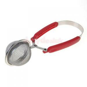 Kitchen Stainless Steel Spoon Tea Infuser Strainer with Red Squeeze Handle