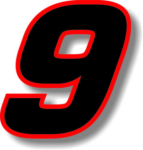 Black 3 inch race numbers with Red border number sticker //vinyl//graphic
