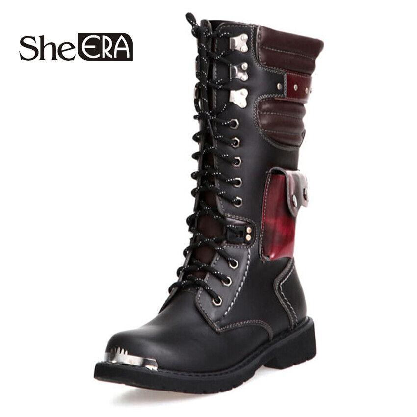 Mitad de la Pantorrilla botas Altas botas para hombre Estilo Militar botas de Hombre Cuero Sintético Motociclismo Co