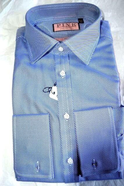 NWT THOMAS PINK 16 eu41 bluee Rug Twill men's Prestige cotton dress shirt