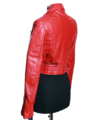 Jacket Leather Smart Designer Lambskin Missy Red Waxed Ladies sr5625 Cropped Izq6q8w