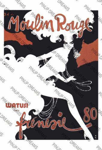 Vintage French Moulin Rouge PARIS Poster Retro re-print