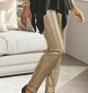 76948faeff9 Ashro Pale Gold Erin Sequin Legging Leggings Pants Size M XL 1X 2X ...