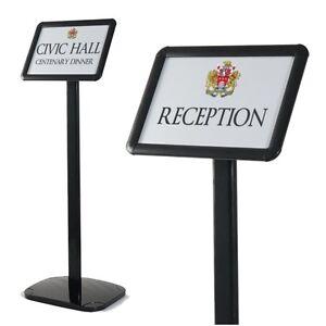 black floor standing menu sign holder snap frame floor display sign stand a4 a3 ebay. Black Bedroom Furniture Sets. Home Design Ideas