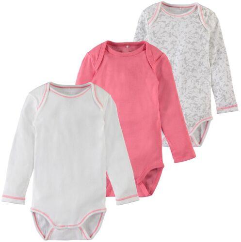 Name It 3er Manica Lunga Body Set Rosa Scuro Bianco Taglia 50 a 98