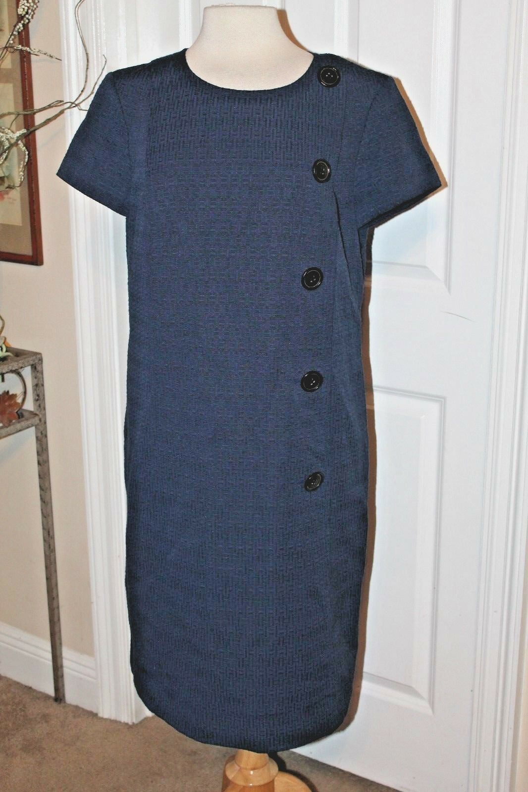 NEW NWT ANN TAYLOR blueE TEXTURED DRESS W DECORATIVE BUTTONS ON SIDE, SIZE 16