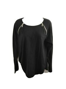 Women-039-s-Michael-Kors-Black-Long-Sleeve-Top-Zipper-Size-Large-L-Free-Shipping
