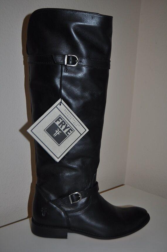 NEW! Women's Sz 6 Frye SHIRLEY Riding Flat Boots BLACK 77745 Buckle Straps